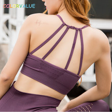 Colorvalue Hollow Out Padded Sports Bra Top Women Seamless Quick Dry Workout Gym Bras Solid Push Up Fitness Yoga Bras Crop Top цены онлайн