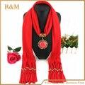 Горячая распродажа элегантная зимние женщин мода хлопок шарф ожерелье с тем же цветом бусины привесные шарфы