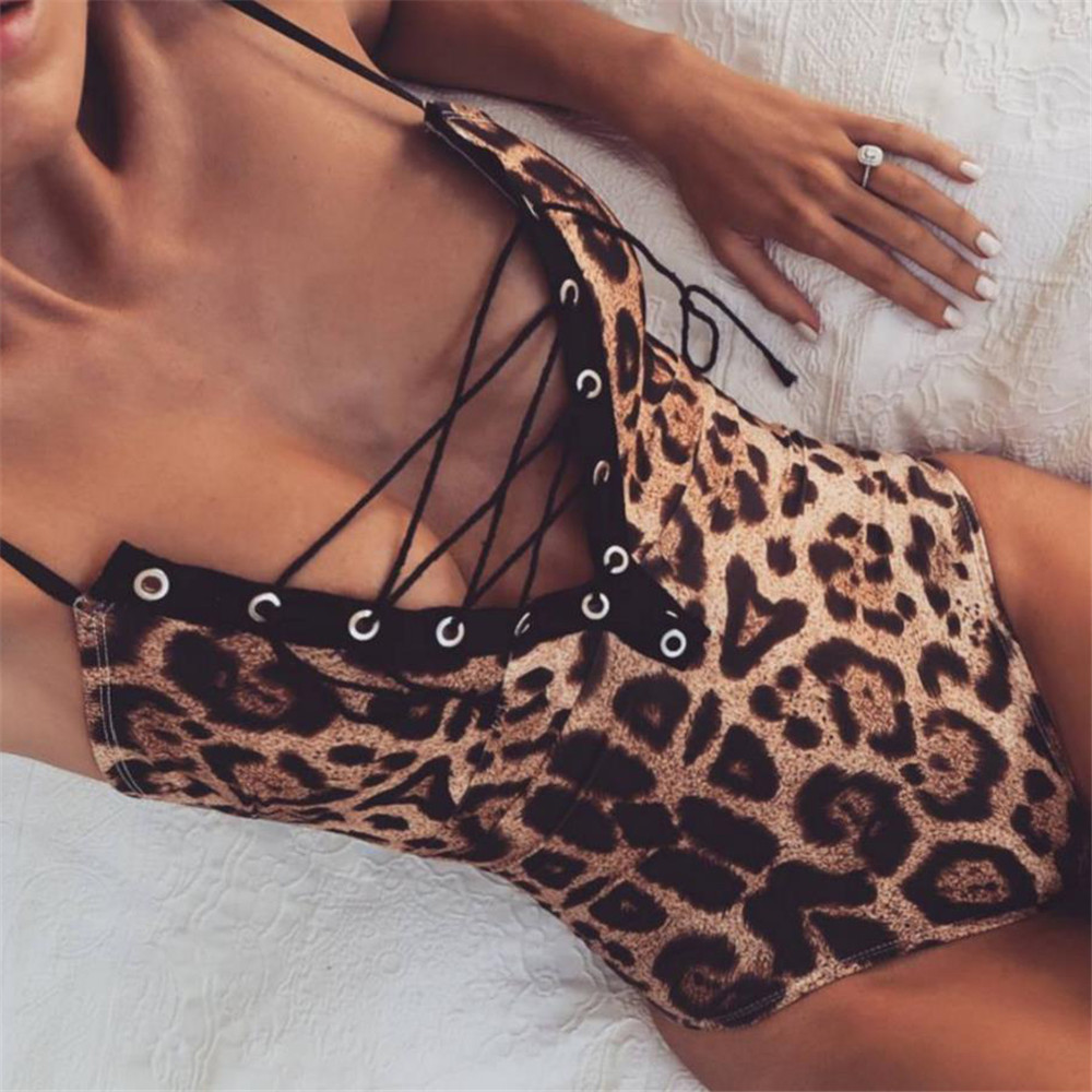 Leopard Print Skinny Sexy Bodysuit Women Autumn V-Neck Spaghetti Strap Lace Up Women Rompers Backless Ladies Bodysuits