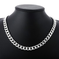 Men S Jewelry Necklaces 20 Width 10mm Long Necklace 925 Stamped Silver Plated Chram Flat Snake