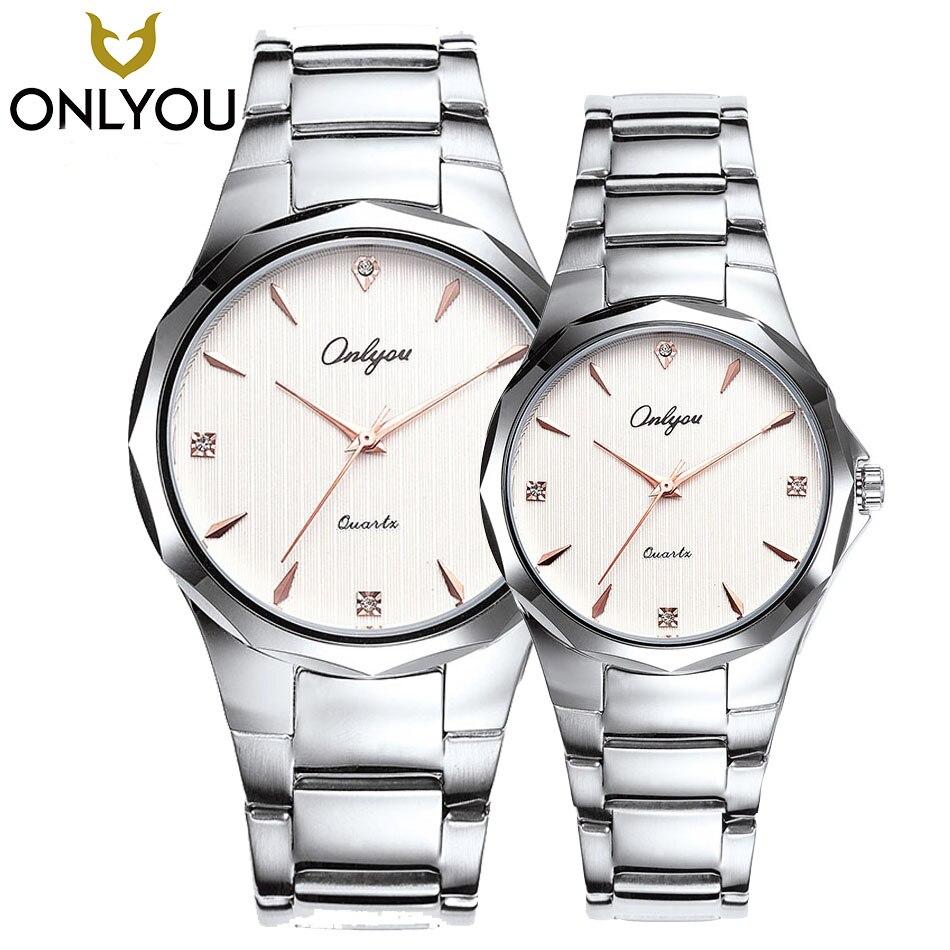 ONLYOU Lover Watches Men Hot 2017 Fashion Brand Watch For Women Tungsten Steel Ring Thin Quartz Clock Ladies Gift Wholesale