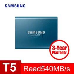 Samsung Портативный SSD T5 250 GB 500 GB 1 ТБ 2 ТБ внешний твердотельный HD Жесткий диск 2,5 USB 3,1 Gen2 (10 Гбит/с) для ноутбука Desktop