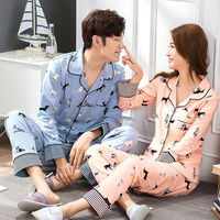 Warm couple pajamas double-sided cotton thick long-sleeved women's men's home service suit free shipping