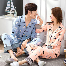 Warm couple pajamas double-sided cotton thick long-sleeved womens mens home service suit free shipping