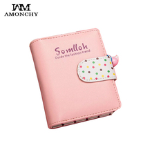 AMONCHY Short Women Wallets Fashion Dot Prints Coin Purses High Quality Artificial Leather Female Wallet Zipper Hasp Day Clutch