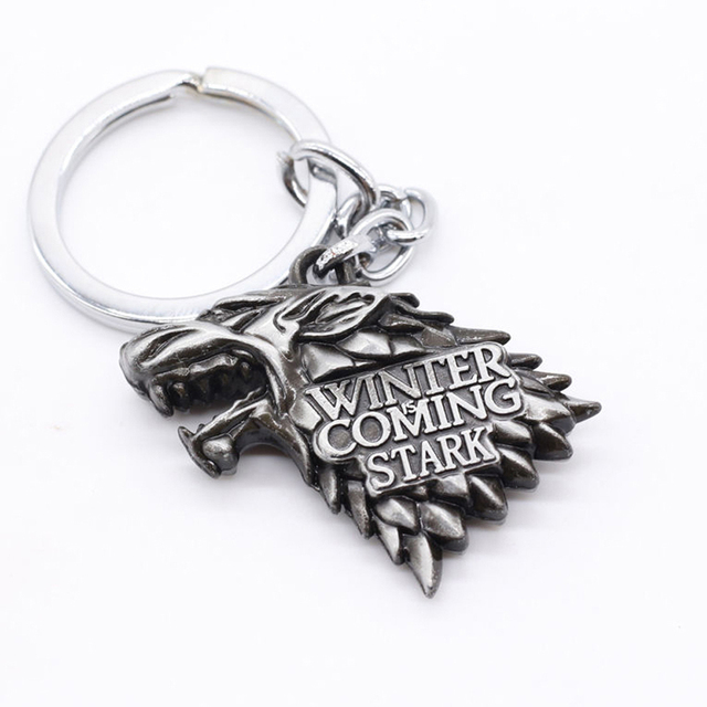 Hot Fashion Winter s Coming 3D Wolf Head Key Ring House Stark Movie Keychain 2d7fa67f250b