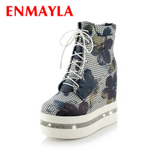 ENMAYLA Motorcycle Print Wedges Women Boots For Women Fashion Retro Platform Pumps Shoes Women Round Toe High Martin Boots New