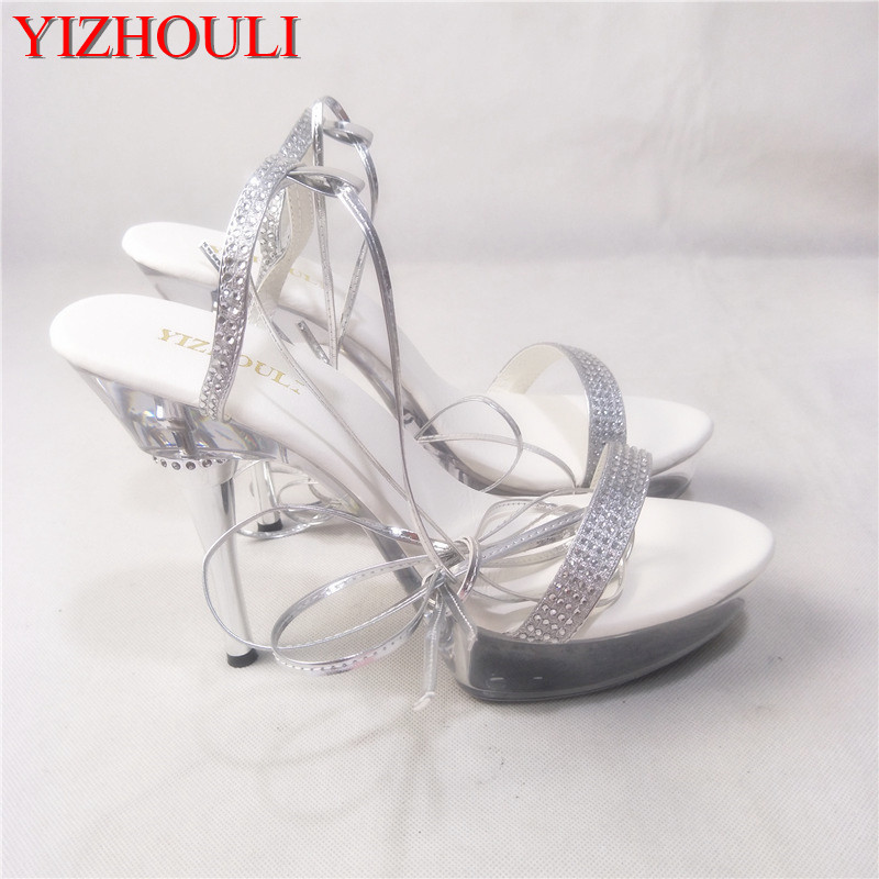 149efaa9f6f 5 Inch Clear High Heels Platform Full Transparent Fashion Sexy Sandals 14cm  High Heeled Shoes The Bride Noble Rhinestone Sandals-in High Heels from  Shoes on ...