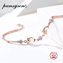 PANSYSEN 21CM Rose Gold Color Dolphin Womens Bracelet With AAAA Zircon Solid 925 Silver Luxury Valentines Day Jewelry Gifts