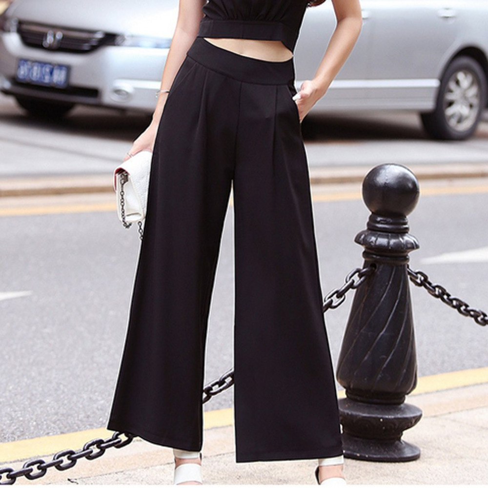 Solid Color Summer Women   Wide     Leg     Pants   High Waist Trousers Loose Slim Straight Black Button   Pants   for Ladies Summer Casual   Pant