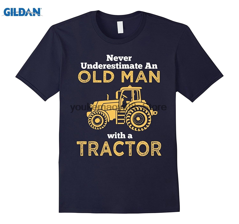 Возьмите хлопок o-образным вырезом Футболка с принтом старик с трактором великой страны человек сад подарок футболка для мужчин