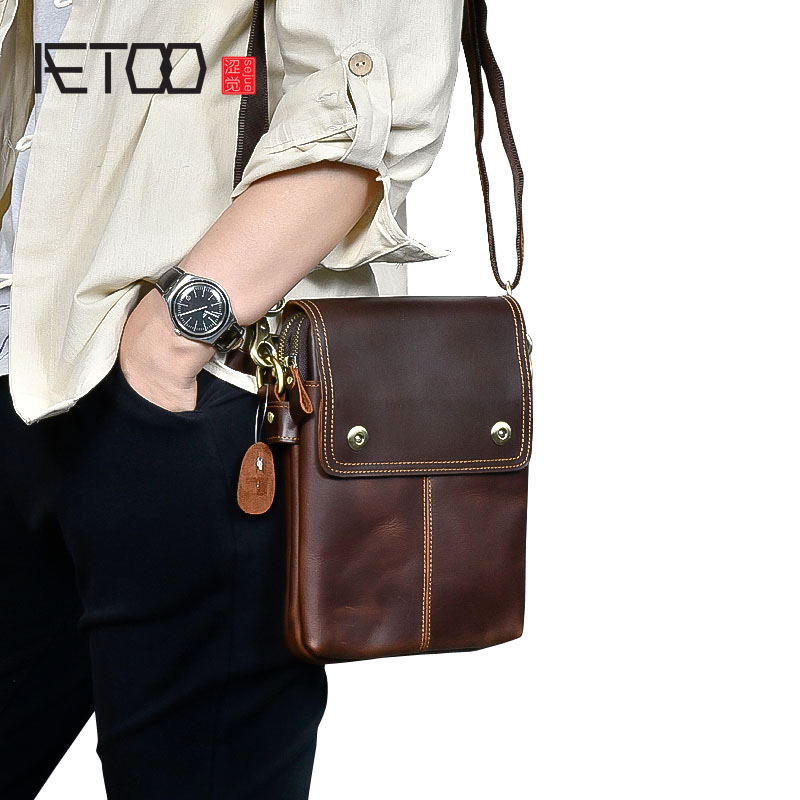 AETOO Genuine Leather Shoulder Bags Fashion Men Messenger Bag Small ipad Male Tote Vintage New Crossbody Bags Men's Handbags zznick genuine leather shoulder bags fashion men messenger bag small ipad male tote vintage new crossbody bags men s handbag