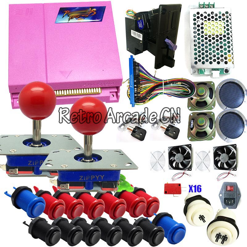 Pandora Box 4S плюс DIY Главная игровая станция happ кнопки 12 В в В 5 в питание монет Слоты IEC предохранитель переключатель Вентилятор охлаждения колон