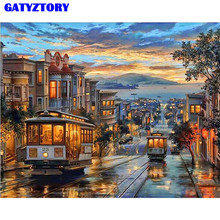 Frame Vintage Bus Landscape DIY Painting By Numbers Hand Painted Oil Painting On Canvas For Home Decoration 40x50cm Artworks(China)