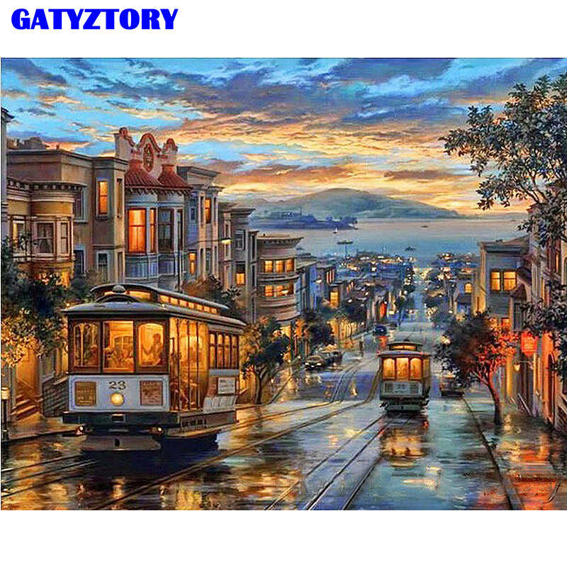 Frame Vintage Bus Landscape DIY Painting By Numbers Hand Painted Oil Painting On Canvas For Home Decoration 40x50cm Artworks