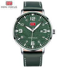 MINI FOCUS Army Sport Ultra Thin Quartz Watches Men Leather Strap Military Waterproof Wristwatch Man Clock Relogios MF0158 Green