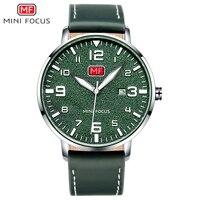 MINI FOCUS Army Sport Ultra Thin Quartz Watches Men Leather Strap Military Waterproof Wristwatch Man Clock Relogios MF0158 Green