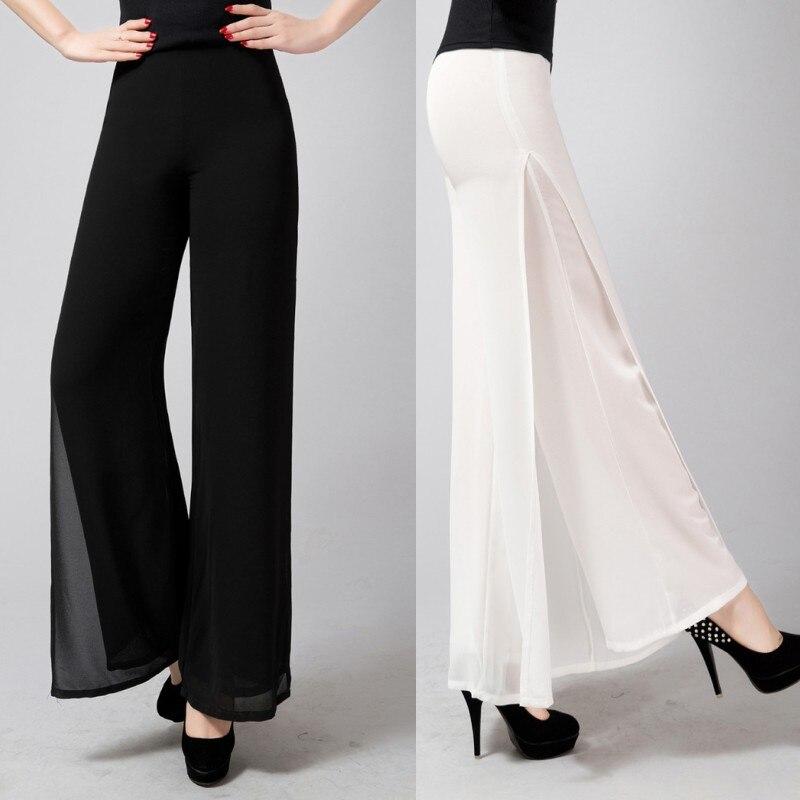 Women Dance Summer Chiffon   Pants   OL Lady Loose Plus Size Full Length Split Side Stripe   Wide     Leg     Pants   Trousers Workwear