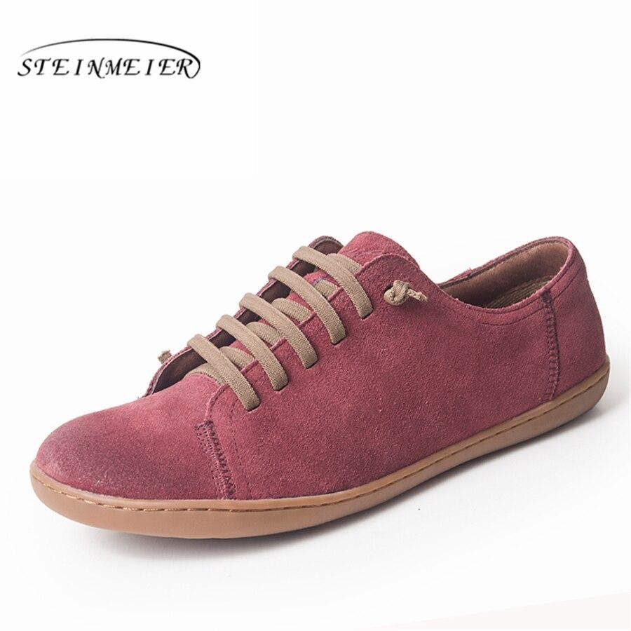 Femmes chaussures plates en cuir véritable daim pieds nus chaussures femme décontractées appartements baleriny sneakers chaussures femme chaussures 2019 printemps
