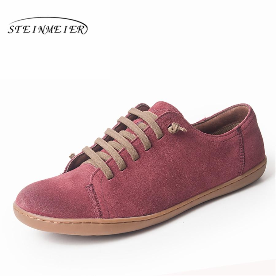 Zapatos planos de las mujeres zapatos de cuero genuino de gamuza pies descalzos zapatos casuales zapatos de mujer pisos baleriny zapatillas de deporte Mujer Zapatos de calzado de la primavera de 2019