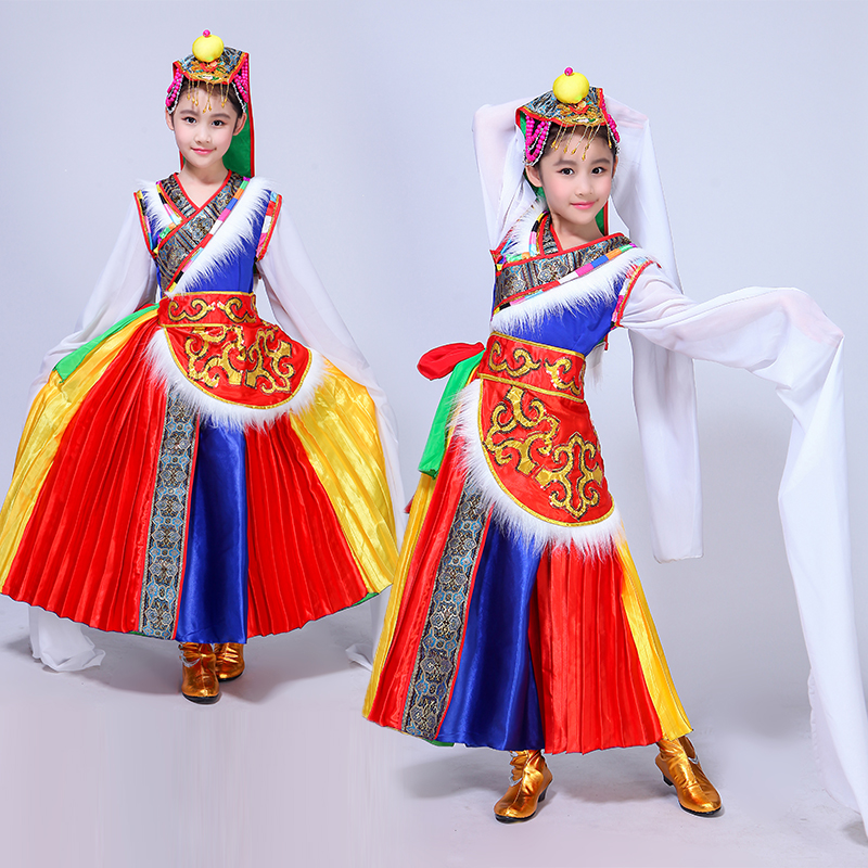 Chinese ethnic childrens dance costumes Tibetan girls water sleeves costumes Tibetan long sleeved stage performance clothes