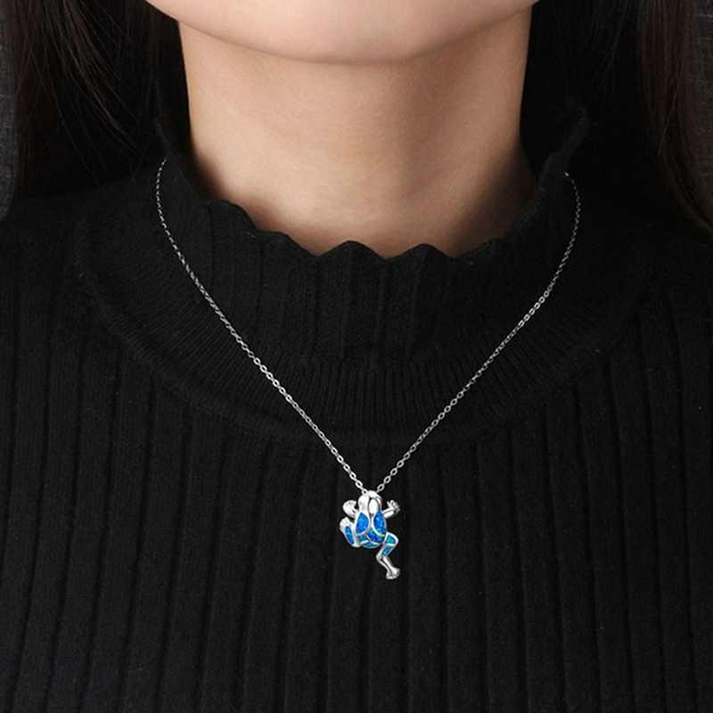 Unikalne srebrny wypełniony naszyjnik urok zwierząt Opal żaba wisiorek naszyjniki dla kobiet mężczyzn Party prezenty
