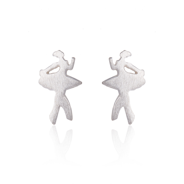 Hfarich 925 Sterling Silver Stud Earrings Ballerina Women Small Ballet Fine Jewelry Dancer Brincos