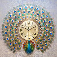 Modern Design Peacock Wall Clock Home Decor Wall Watch 3D Silent Digital Clcok Wall Living Room And Bedroom Large 3D Wall Clocks
