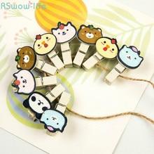 10PCS Cute Log Color Wooden Clothes Clip CreativeCartoon Customized Photo Wall Set Note Sealing DIY Decoration