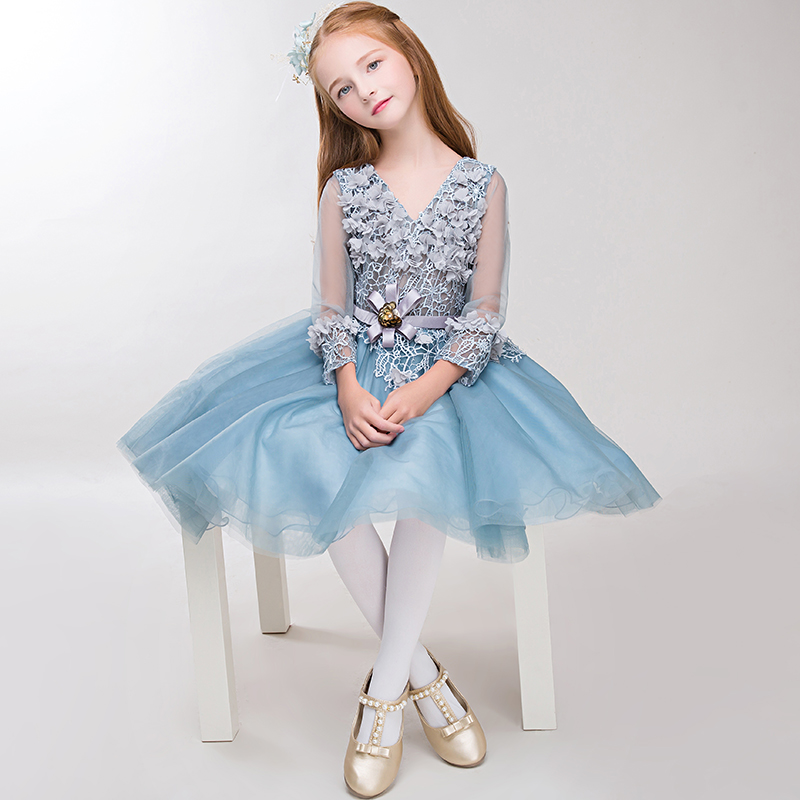 Luxury V-neck Flower Girl Dresses Wedding Birthday Party Ball Gown Floral Appliques Hollow Out Cute Princess Dress Kids Clothes цена и фото