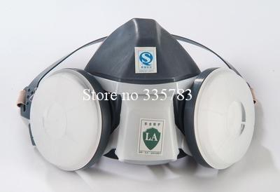 De silicona tipo de respirador PM2.5 filtro de polvo máscara contra el polvo máscara de seguridad gris doble olla CE respirador máscara Envío Libre