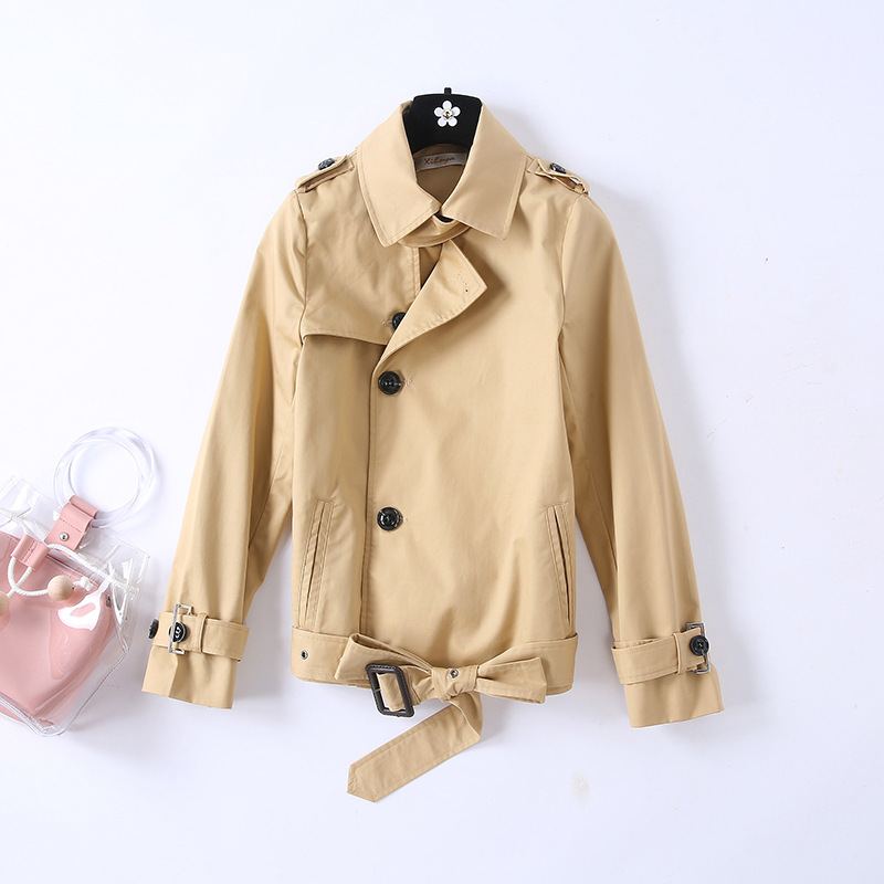 Short design khaki   trench   coat women turn down collar belt slim waist single breasted outerwear for spring autumn