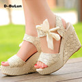 D-BuLun Fashion Sandals Womens Sweet Candy High Heel Solid Wedge Platform Sandals Bowknot Ankle Flip Lace Strap Shoes