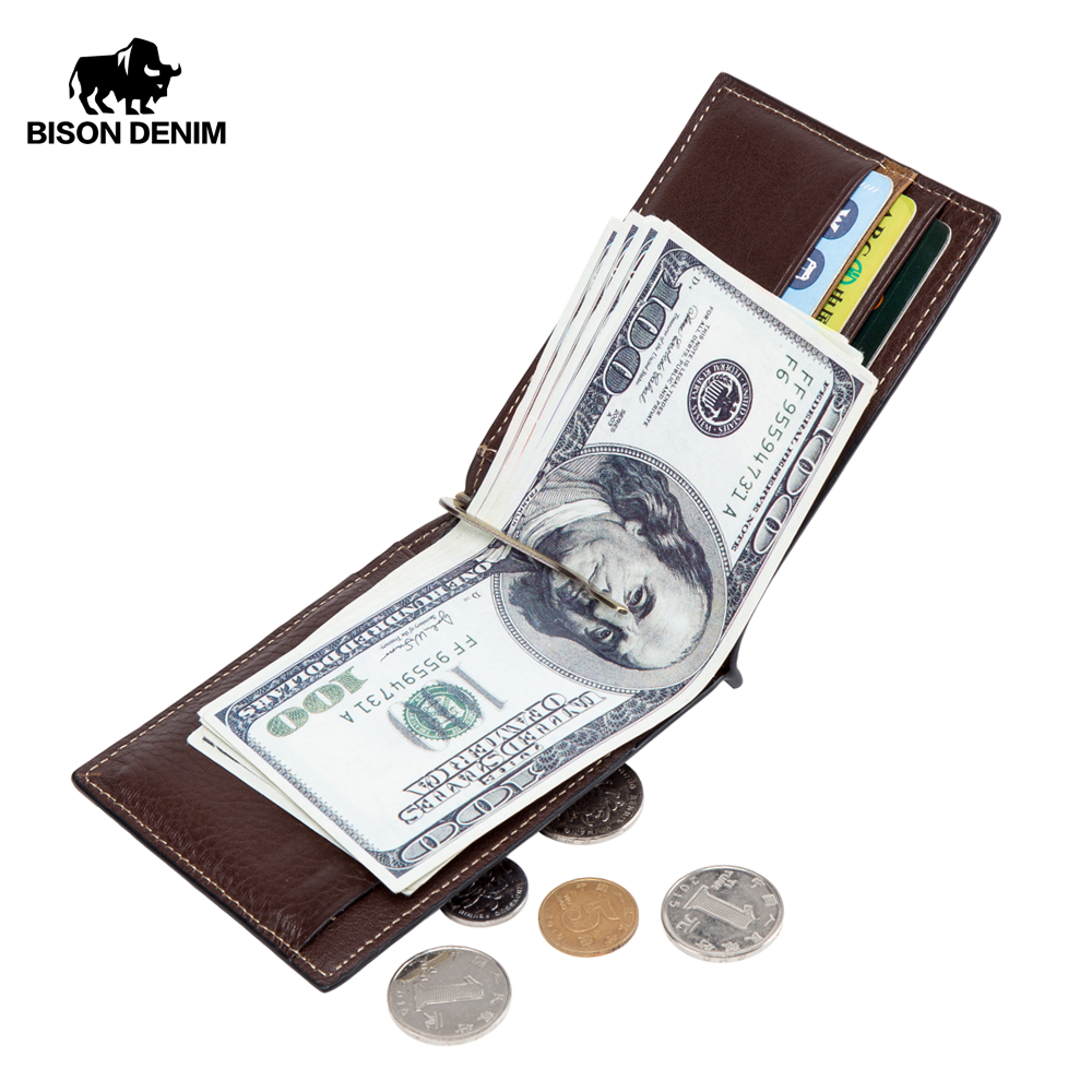 BISON DENIM Cow Leather Wallet Men Money Purse With Zipper Coin Pocket ID Card Genuine Leather Mini Purse For Men W9348