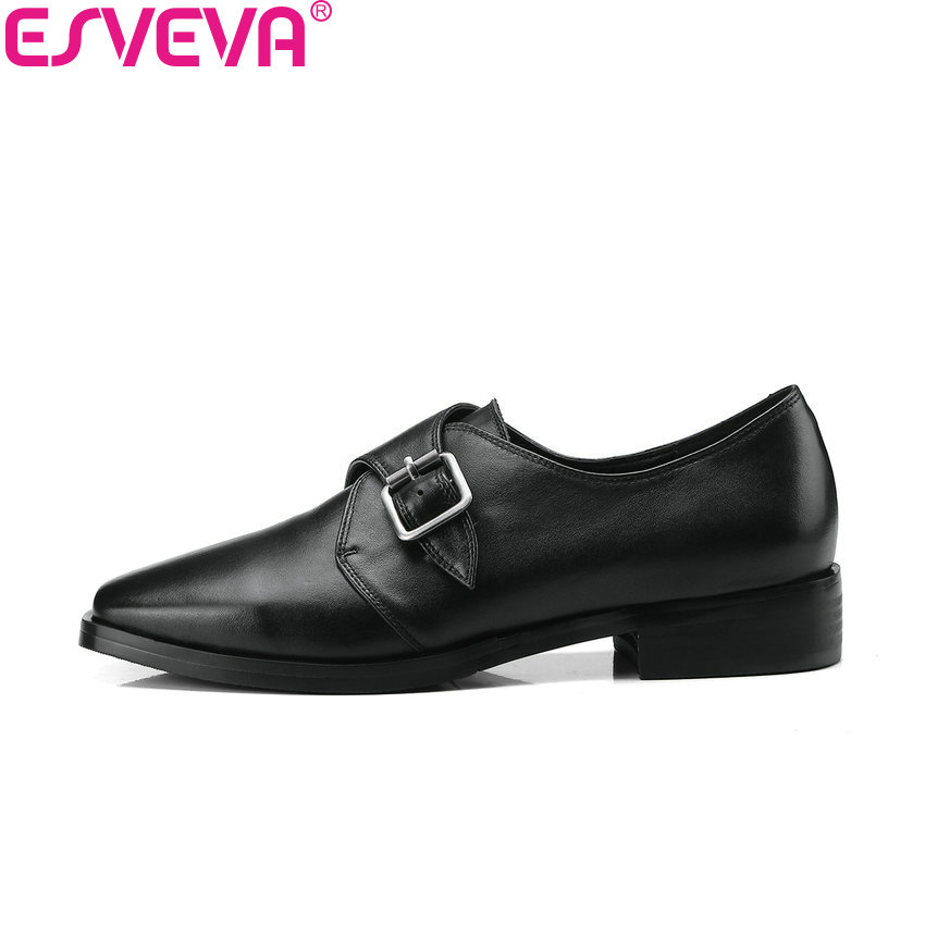 ESVEVA 2018 Women Pumps Concise Cow Leather PU Square Heels Slip on Square Toe Western Style Med Heels Ladies Shoes Size 34-39 2017 shoes women med heels tassel slip on women pumps solid round toe high quality loafers preppy style lady casual shoes 17