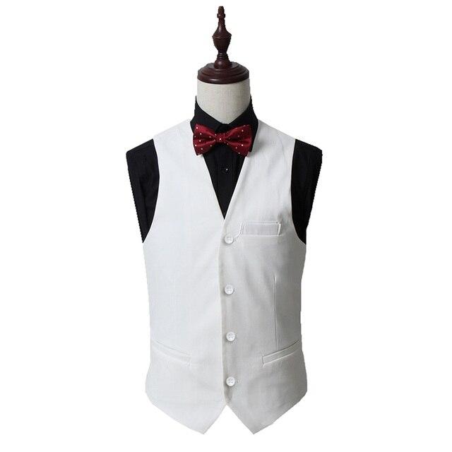 2016 Nuevo Traje Blanco Chaleco Hombres Cabidas Delgadas Vestimenta Formal boda Chaleco Gilet Colete Chaqueta de Un Solo Pecho Más El tamaño M-5XL negro
