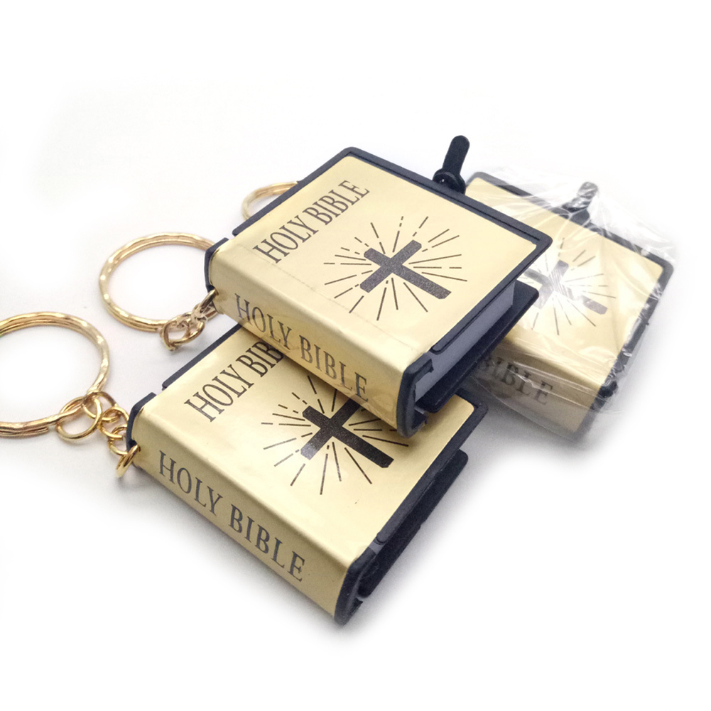 Mini Holy Bible Cross Pendant Keychain Religious Christian Keyring Decor Gifts