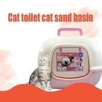 Горшок обучения пластиковый Туалет кошачий поднос коврик для песка лоток для домашних животных небольшой Kedi Tuvaleti коробка Kattenbak Gesloten товары