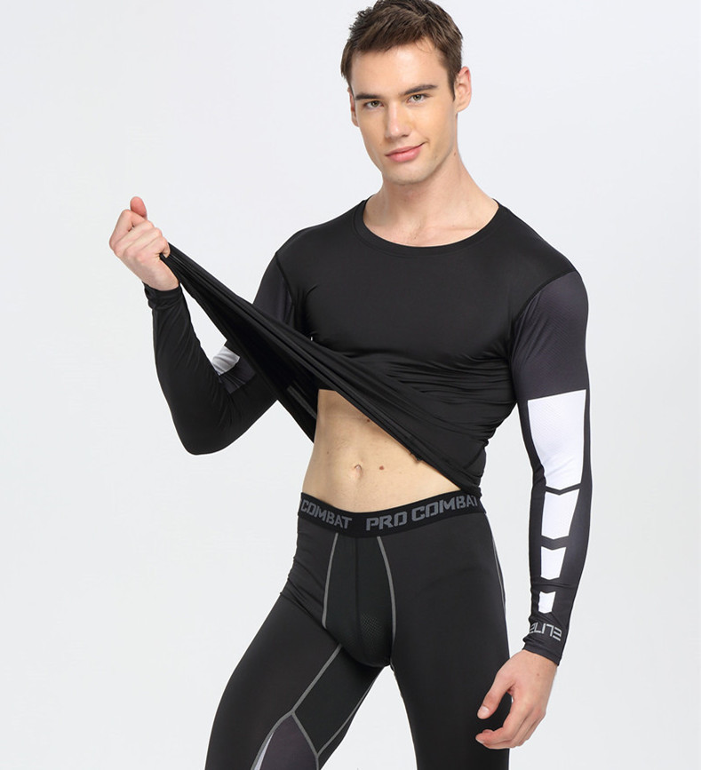 Compression Shirts Bodybuilding Skin Tight Long Sleeves Jerseys Crossfit Exercise Workout Fitness Sportswear Muay Thai Rashguard