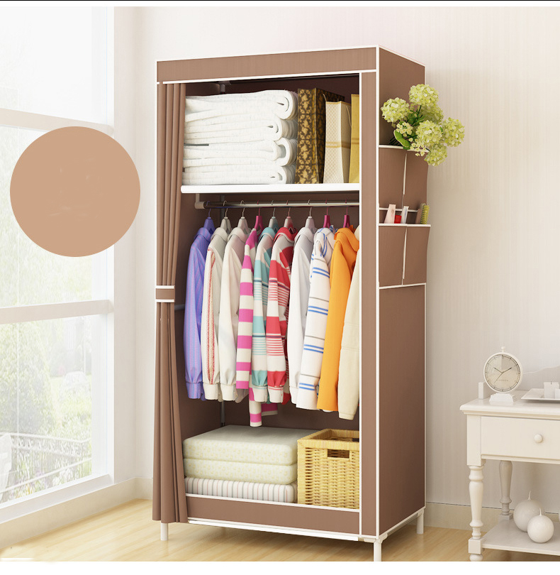 Home Wardrobe Student Dormitory Clothes Wardrobe Storage Closet 160x70x45cm Portable Cloth Cabinet Steel Tube fold Wardrobe