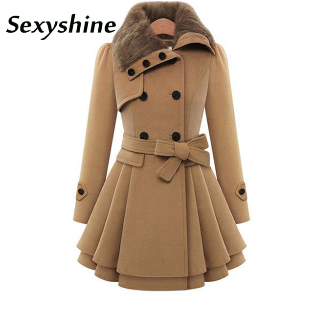 57a648f7b6ebc Winter Coat Women Trench Coat Turn-down Collar Long Sleeve Peacoat Faux Fur  Double Breasted Thick Plus Size New Fashion Outwear