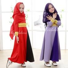 2016 Muslim cotton abaya islamic clothes for children Malaysia high quality jibabs kaftan for girl princess dress