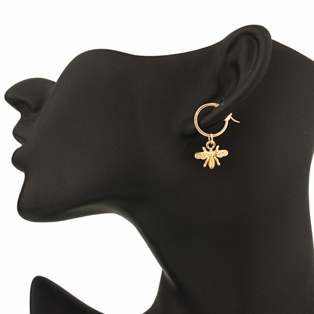 European Stereoscopic Trend  Cute Bee Hoop Earrings With Pendant Gold Silver Color Lovely Fashion Jewelry 5