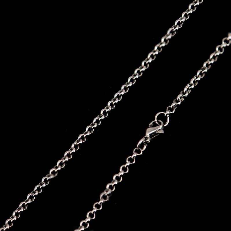 Długi naszyjnik ze stali nierdzewnej 2.5mm naszyjnik rolo łańcuszki do Pearl Cage lockets i Olej do dyfuzora medalion wisiorek kobiety