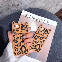 LUDI 3D Cute Leopard Print Cat Case For IPhone 7 7plus Hipster Soft Pro Silicon For