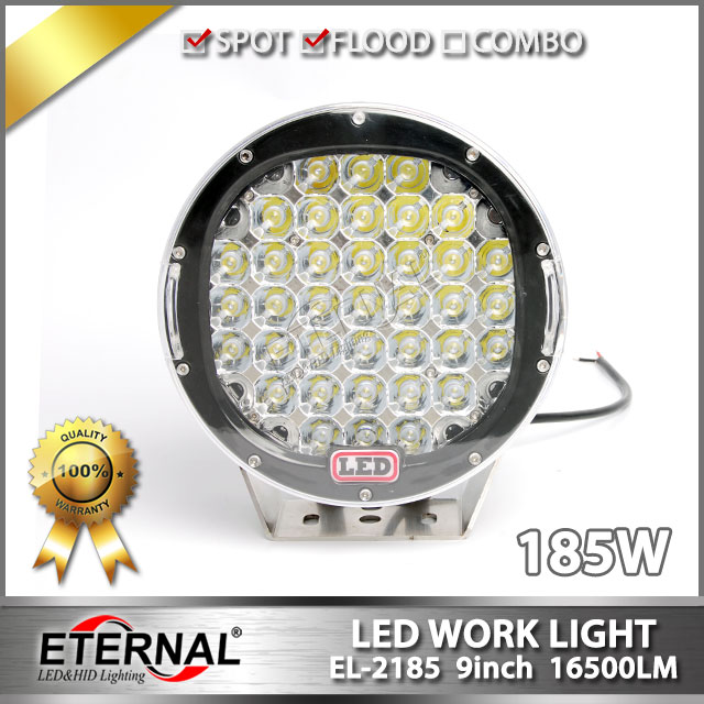 ФОТО 2pcs-9in 185W led driving light for off road rubicon wrangler 4x4 buggy vehicles truck trailer crane truck excavator heavy duty