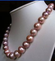 18 L 10 11mm AAA Akoya SOUTH SEA pink purrle Pearl Necklace Free shipping Quality Fashion Picture>