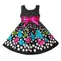 Nuevo Vestido de Las Muchachas Punto Negro Mariposa Partido Desfile de Moda de Algodón Casual Ropa Para Niños Tamaño 2-10