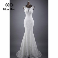 New 2018 Mermaid Wedding Dresses Scoop Long Lace Up Back Tank Count Train Wedding Dress With