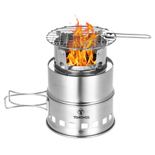 TOMSHOO Portable Folding Windproof Wood Burning Stove Compact Stainless Steel Alcohol Stove Outdoor Camping Hiking Backpacking